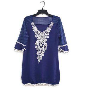V-neck Crepe Crochet Lace Bikini Cover-up Medium